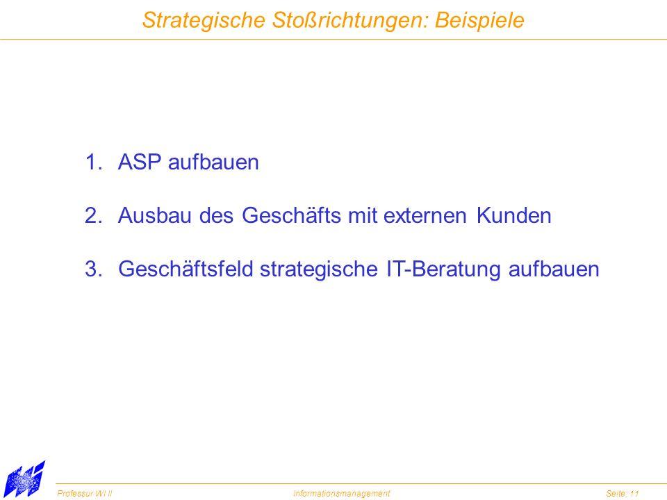 Professur WI IIInformationsmanagementSeite: 11 Strategische Stoßrichtungen: Beispiele 1.ASP aufbauen 2.Ausbau des Geschäfts mit externen Kunden 3.Gesc