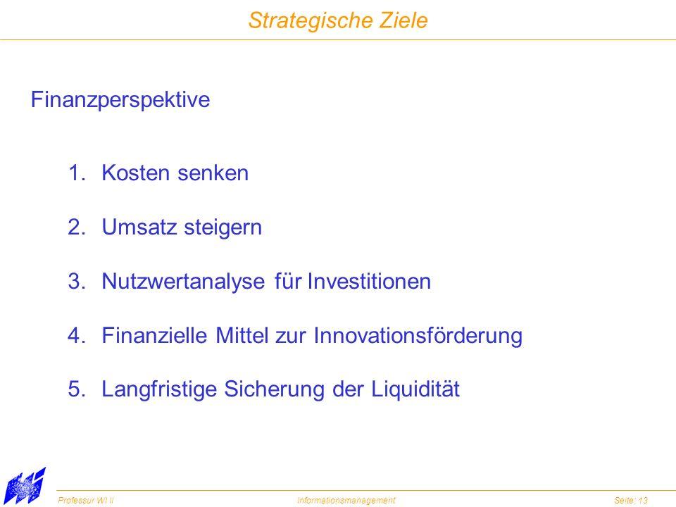 Professur WI IIInformationsmanagementSeite: 13 Strategische Ziele Finanzperspektive 1.Kosten senken 2.Umsatz steigern 3.Nutzwertanalyse für Investitio