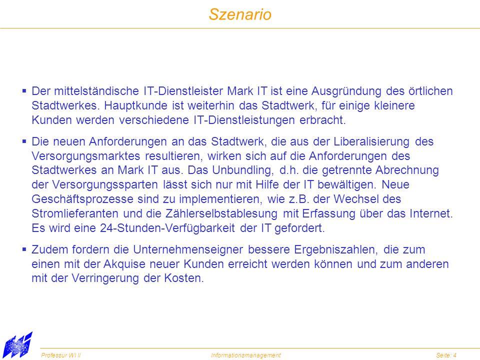 Professur WI IIInformationsmanagementSeite: 4 Szenario Der mittelständische IT-Dienstleister Mark IT ist eine Ausgründung des örtlichen Stadtwerkes. H