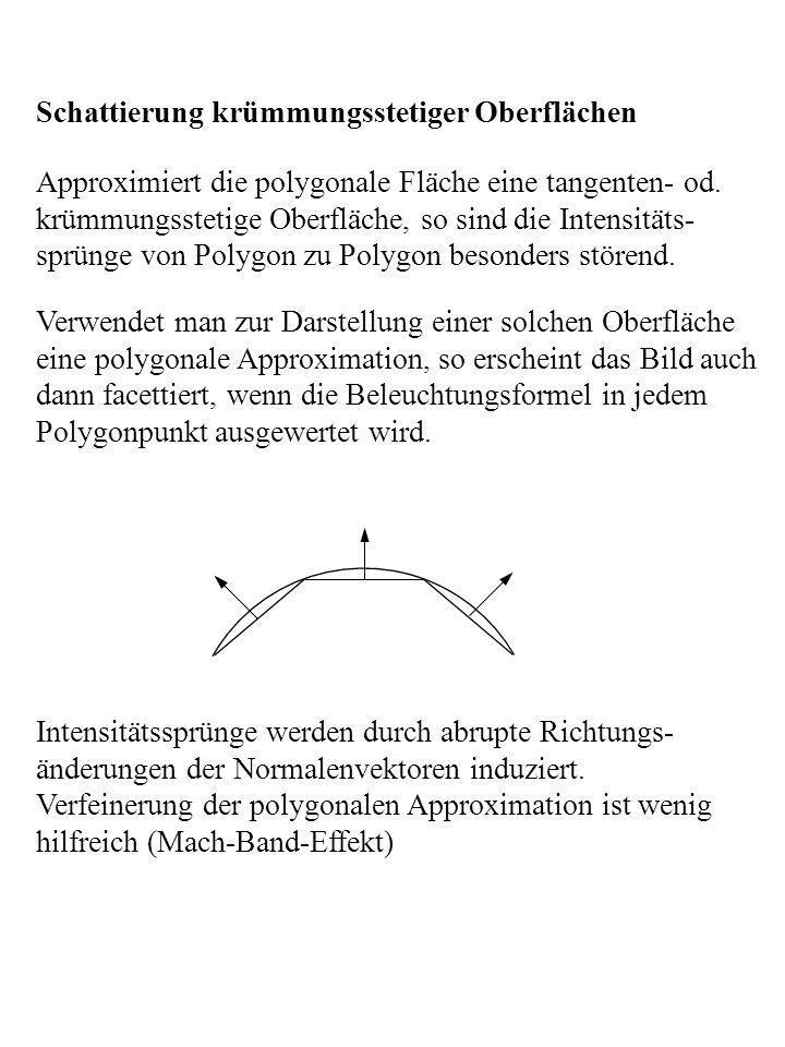 Verwendet man zur Darstellung einer solchen Oberfläche eine polygonale Approximation, so erscheint das Bild auch dann facettiert, wenn die Beleuchtung