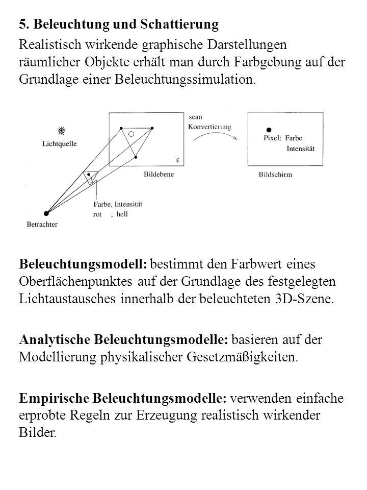 Lokale Beleuchtungsmodelle: beschreiben den Farbwert eines Oberflächenpunktes durch das Zusammenwirken von einfallendem Licht aus den Lichtquellen und dem Reflektionsverhalten der Oberfläche.