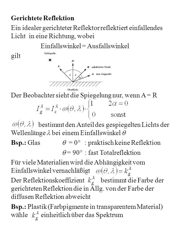 Das Phong-Modell des unvollkommenen Reflektors Ein unvollkommener Reflektor reflektiert in einem Bereich um R Dabei ist die Spiegelung maximal im Zentrum und fällt zum Rand des Bereiches ab Phong ´75 (Warnock 69): (A, R normiert) Beleuchtungsmodell der gemischten Reflektion Mehrere Lichtquellen Bei Verwendung des RGB-Farbmodells interpretiere als Index aus der Menge {rot, grün, blau}