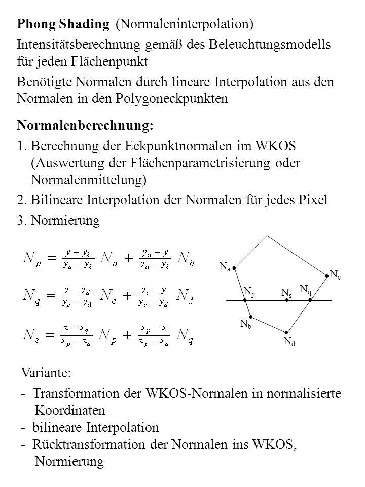 Phong Shading (Normaleninterpolation) Intensitätsberechnung gemäß des Beleuchtungsmodells für jeden Flächenpunkt Benötigte Normalen durch lineare Inte