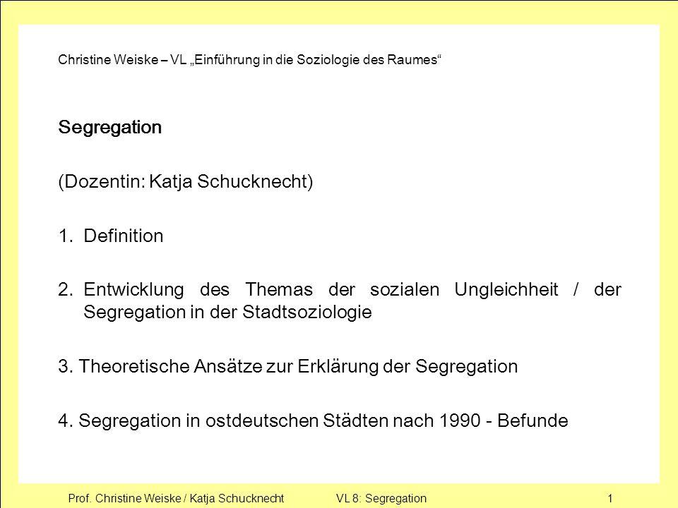 Prof. Christine Weiske / Katja Schucknecht VL 8: Segregation1 Christine Weiske – VL Einführung in die Soziologie des Raumes Segregation (Dozentin: Kat