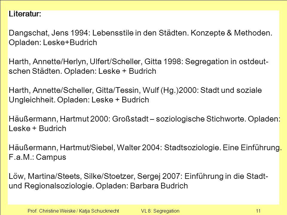 Prof. Christine Weiske / Katja Schucknecht VL 8: Segregation11 Literatur: Dangschat, Jens 1994: Lebensstile in den Städten. Konzepte & Methoden. Oplad