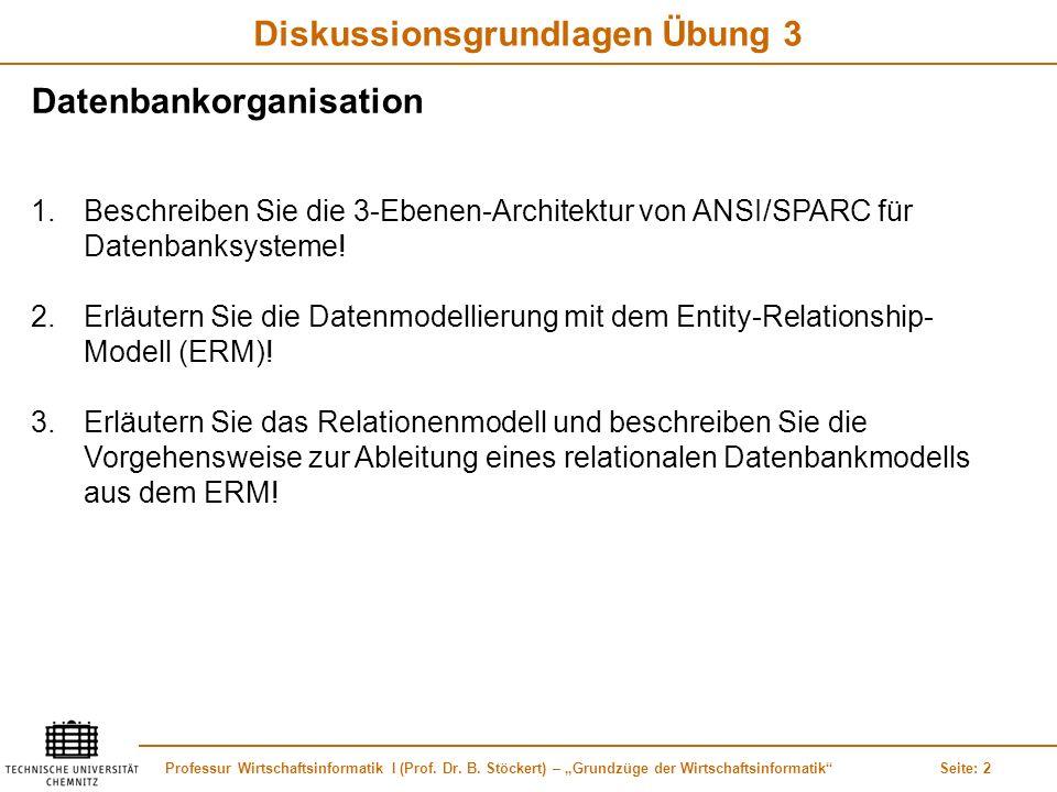 Professur Wirtschaftsinformatik I (Prof. Dr. B. Stöckert) – Grundzüge der WirtschaftsinformatikSeite: 2 Diskussionsgrundlagen Übung 3 Datenbankorganis