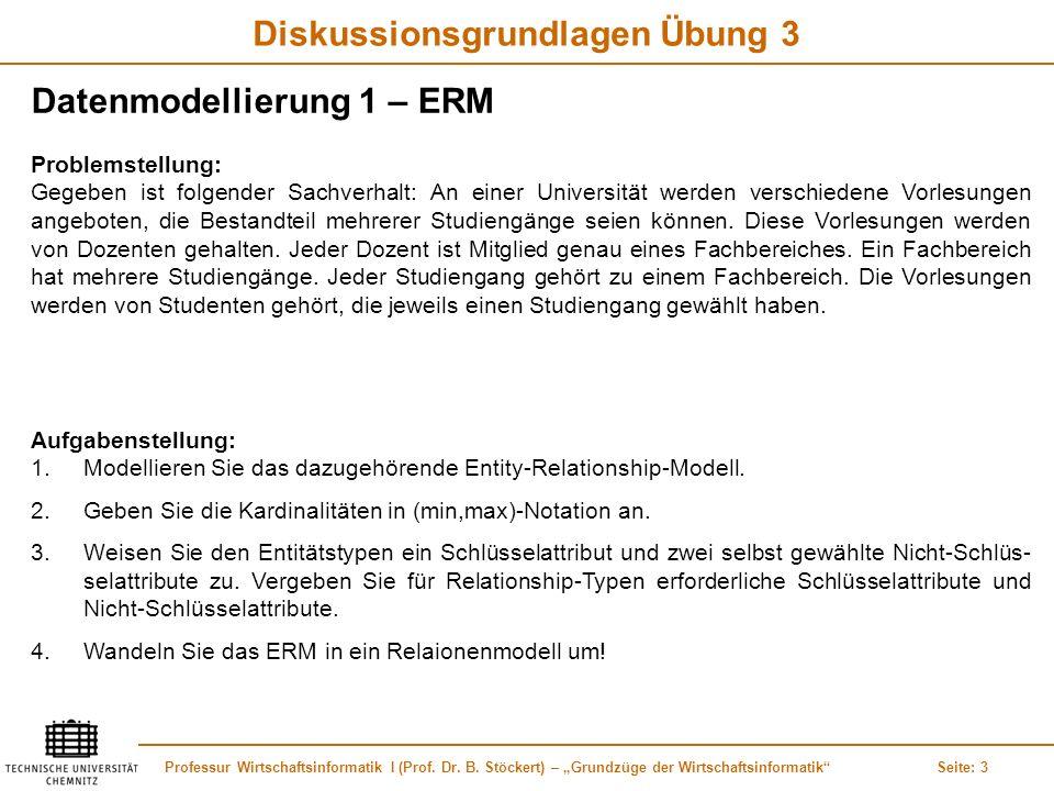 Professur Wirtschaftsinformatik I (Prof. Dr. B. Stöckert) – Grundzüge der WirtschaftsinformatikSeite: 3 Diskussionsgrundlagen Übung 3 Datenmodellierun