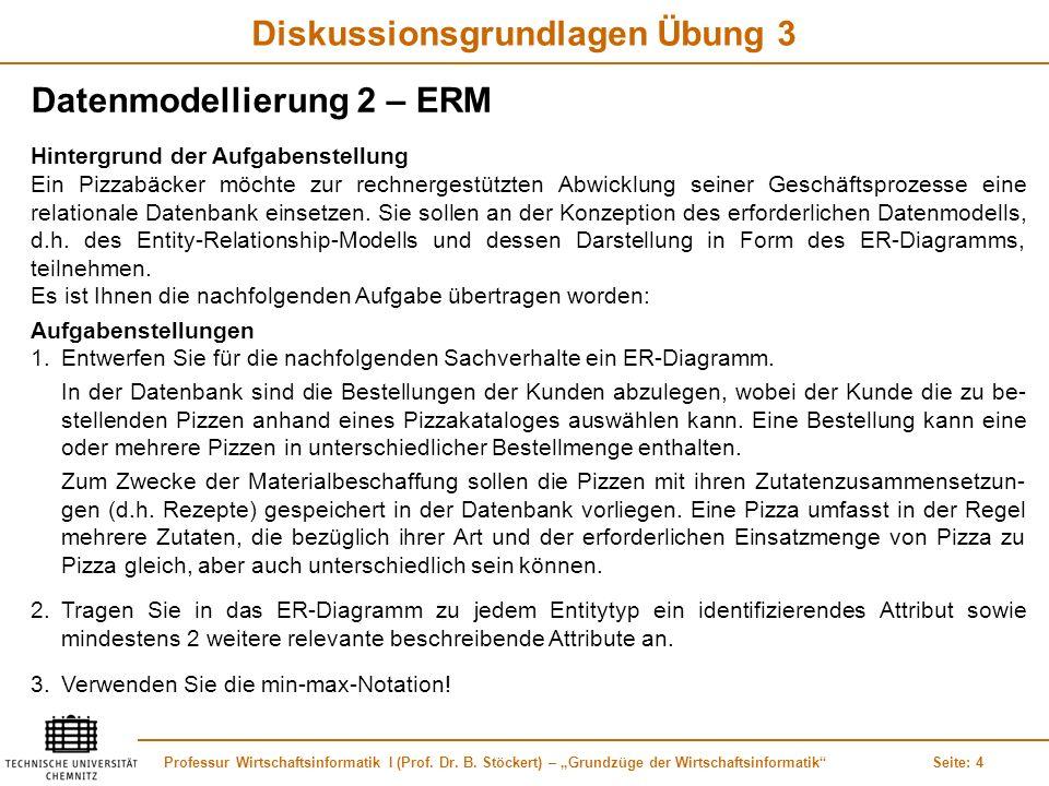 Professur Wirtschaftsinformatik I (Prof. Dr. B. Stöckert) – Grundzüge der WirtschaftsinformatikSeite: 4 Diskussionsgrundlagen Übung 3 Datenmodellierun