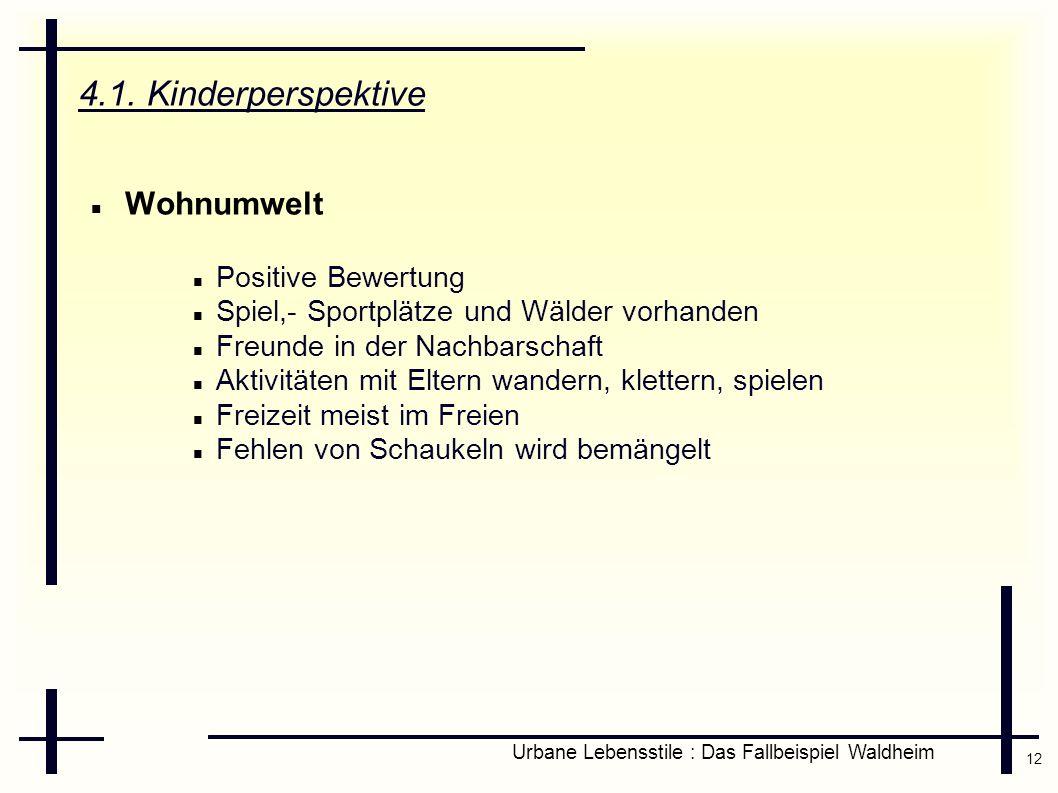 12 Urbane Lebensstile : Das Fallbeispiel Waldheim 4.1. Kinderperspektive Wohnumwelt Positive Bewertung Spiel,- Sportplätze und Wälder vorhanden Freund