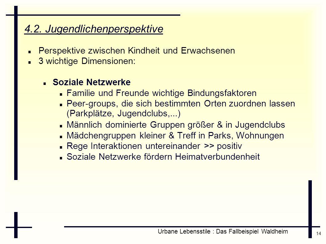 14 Urbane Lebensstile : Das Fallbeispiel Waldheim 4.2. Jugendlichenperspektive Perspektive zwischen Kindheit und Erwachsenen 3 wichtige Dimensionen: S