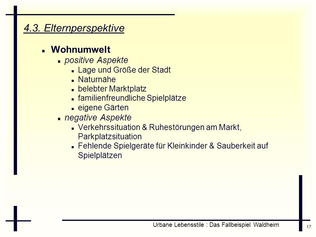 17 Urbane Lebensstile : Das Fallbeispiel Waldheim 4.3. Elternperspektive Wohnumwelt positive Aspekte Lage und Größe der Stadt Naturnähe belebter Markt