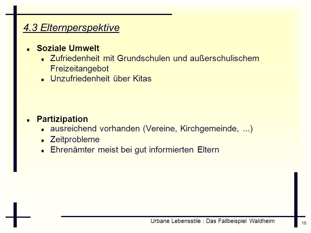 18 Urbane Lebensstile : Das Fallbeispiel Waldheim 4.3 Elternperspektive Soziale Umwelt Zufriedenheit mit Grundschulen und außerschulischem Freizeitang