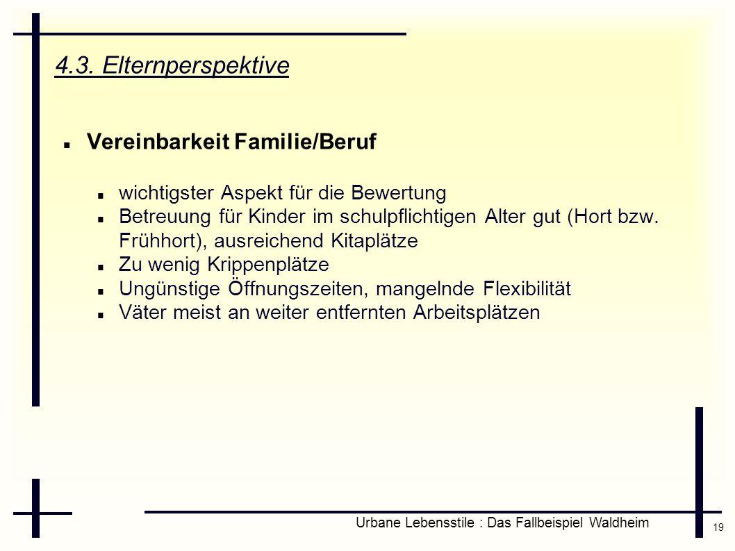 19 Urbane Lebensstile : Das Fallbeispiel Waldheim 4.3. Elternperspektive Vereinbarkeit Familie/Beruf wichtigster Aspekt für die Bewertung Betreuung fü