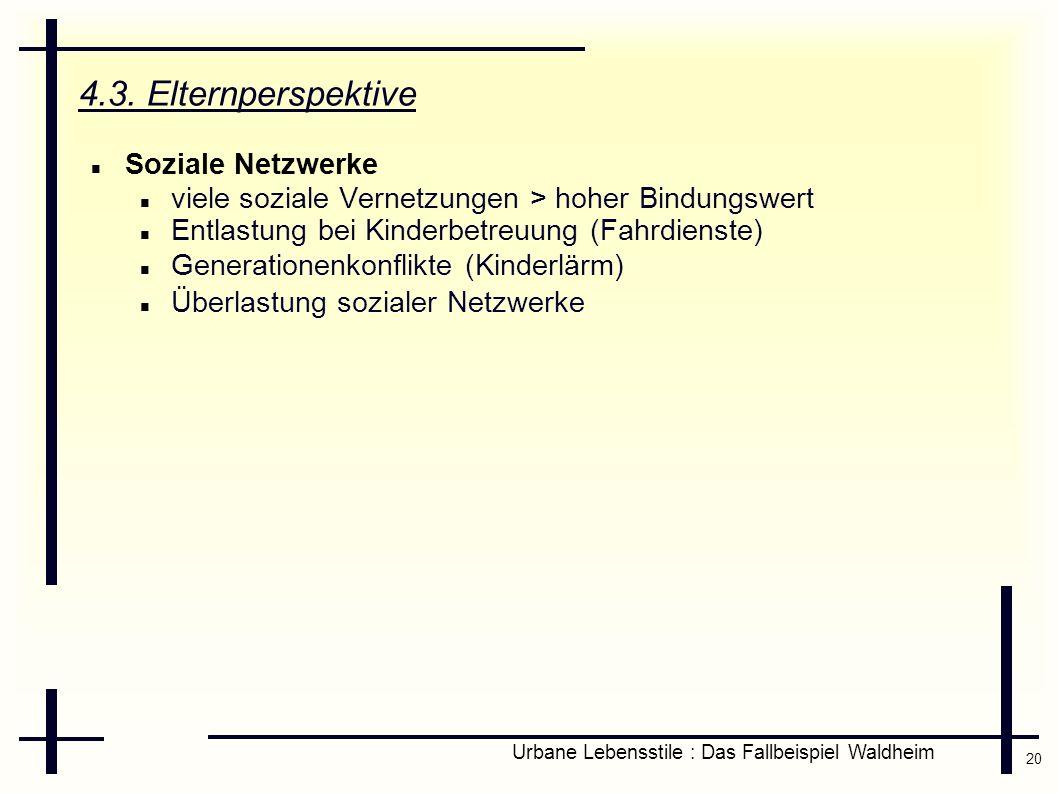 20 Urbane Lebensstile : Das Fallbeispiel Waldheim 4.3. Elternperspektive Soziale Netzwerke viele soziale Vernetzungen > hoher Bindungswert Entlastung