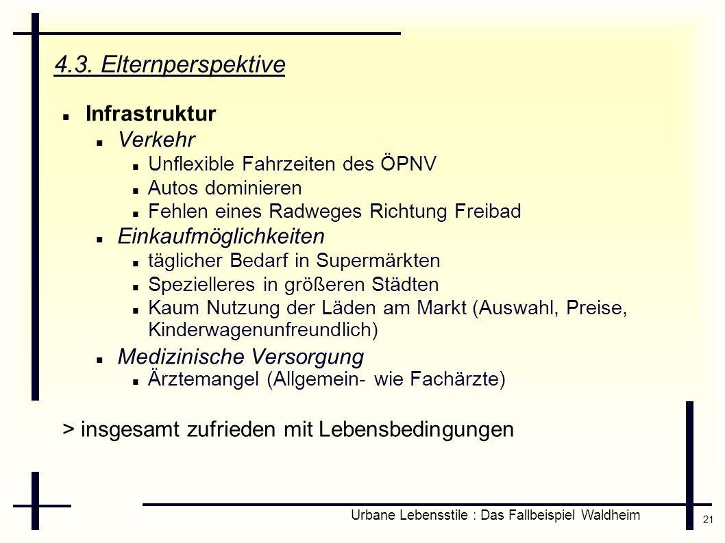 21 Urbane Lebensstile : Das Fallbeispiel Waldheim 4.3. Elternperspektive Infrastruktur Verkehr Unflexible Fahrzeiten des ÖPNV Autos dominieren Fehlen