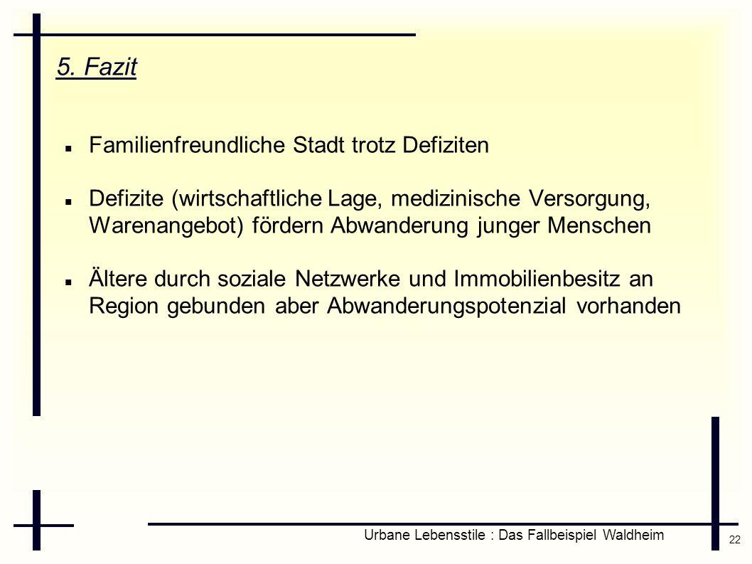 22 Urbane Lebensstile : Das Fallbeispiel Waldheim 5. Fazit Familienfreundliche Stadt trotz Defiziten Defizite (wirtschaftliche Lage, medizinische Vers