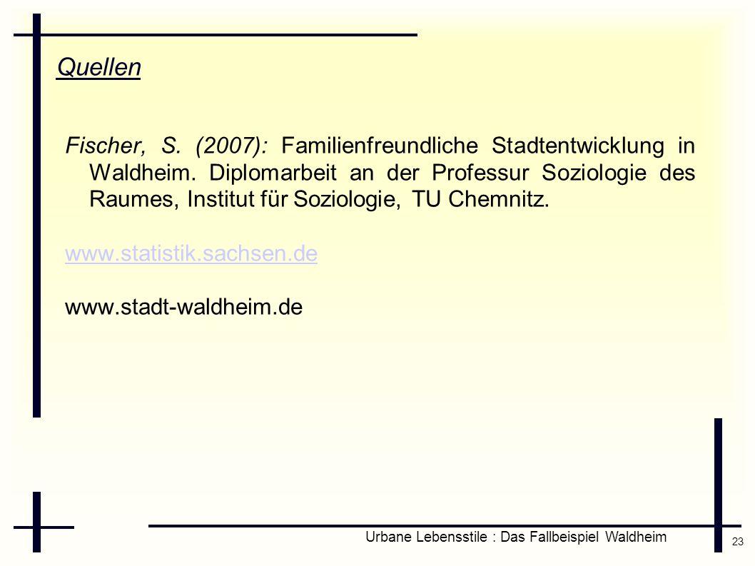23 Urbane Lebensstile : Das Fallbeispiel Waldheim Quellen Fischer, S. (2007): Familienfreundliche Stadtentwicklung in Waldheim. Diplomarbeit an der Pr