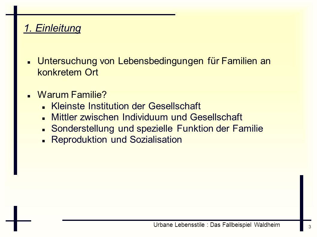 3 Urbane Lebensstile : Das Fallbeispiel Waldheim 1. Einleitung Untersuchung von Lebensbedingungen für Familien an konkretem Ort Warum Familie? Kleinst
