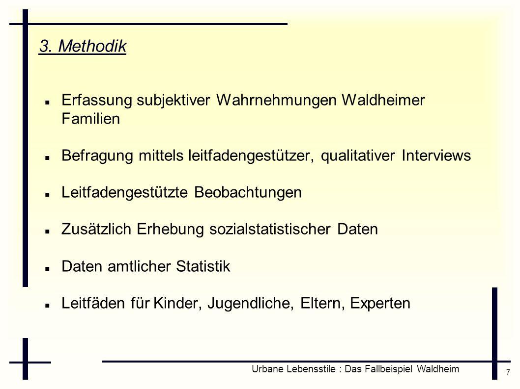 7 Urbane Lebensstile : Das Fallbeispiel Waldheim 3. Methodik Erfassung subjektiver Wahrnehmungen Waldheimer Familien Befragung mittels leitfadengestüt