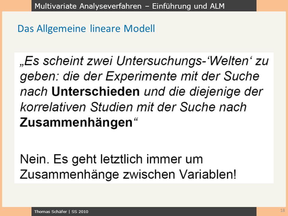 Multivariate Analyseverfahren – Einführung und ALM Thomas Schäfer | SS 2010 18 Das Allgemeine lineare Modell