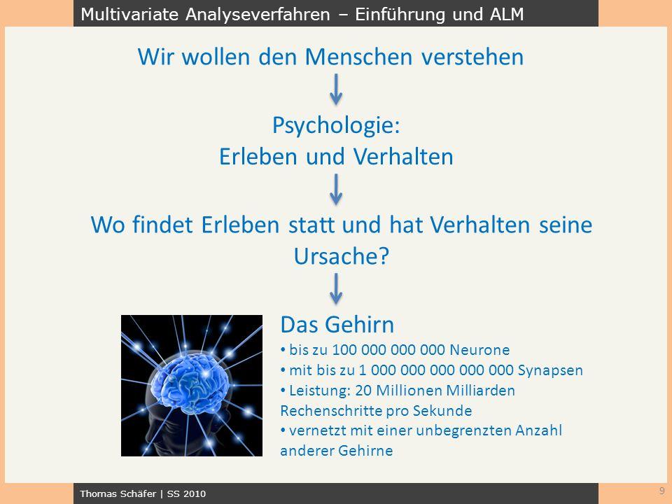 Multivariate Analyseverfahren – Einführung und ALM Thomas Schäfer | SS 2010 9 Wir wollen den Menschen verstehen Psychologie: Erleben und Verhalten Wo