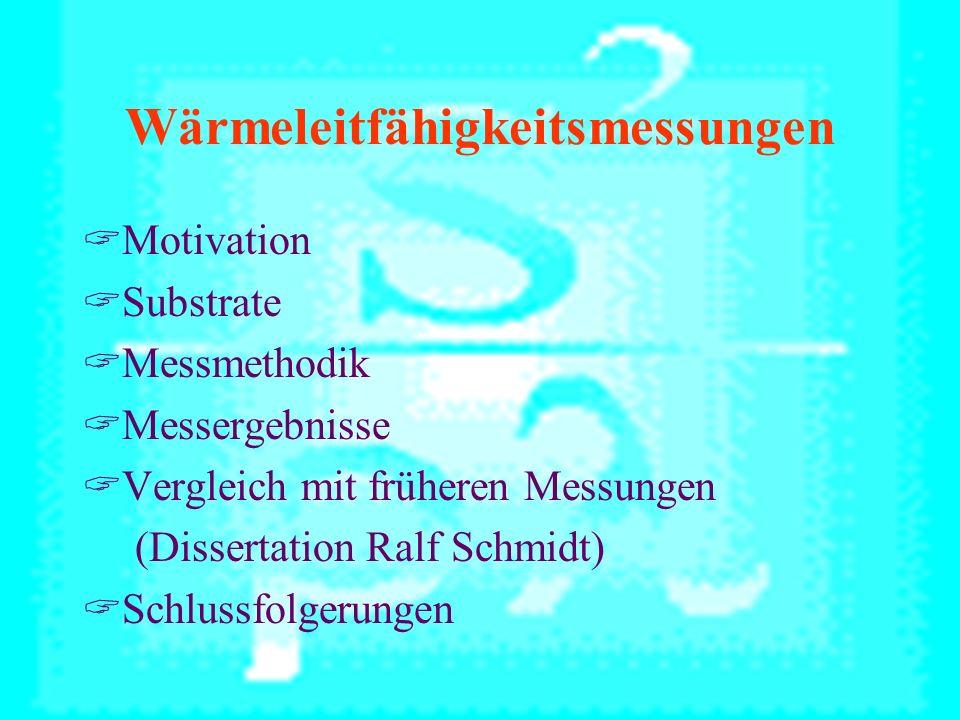 Wärmeleitfähigkeitsmessungen Motivation Substrate Messmethodik Messergebnisse Vergleich mit früheren Messungen (Dissertation Ralf Schmidt) Schlussfolgerungen
