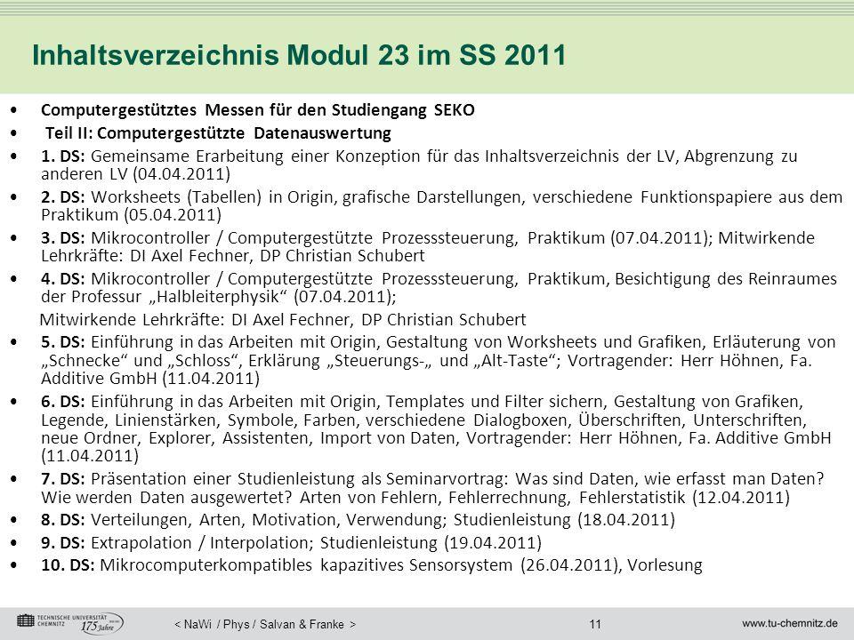11 Inhaltsverzeichnis Modul 23 im SS 2011 Computergestütztes Messen für den Studiengang SEKO Teil II: Computergestützte Datenauswertung 1. DS: Gemeins