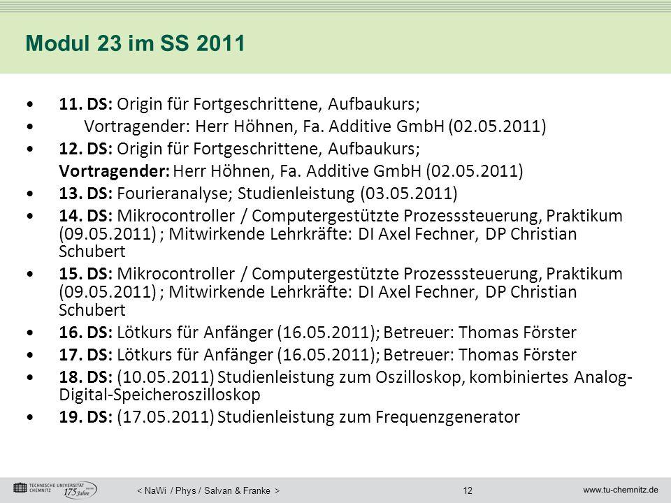 12 Modul 23 im SS 2011 11. DS: Origin für Fortgeschrittene, Aufbaukurs; Vortragender: Herr Höhnen, Fa. Additive GmbH (02.05.2011) 12. DS: Origin für F