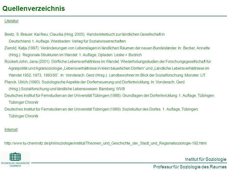 Professur für Soziologie des Raumes Institut für Soziologie Quellenverzeichnis Literatur Beetz, S./Brauer, Kai/Neu, Claudia (Hrsg.
