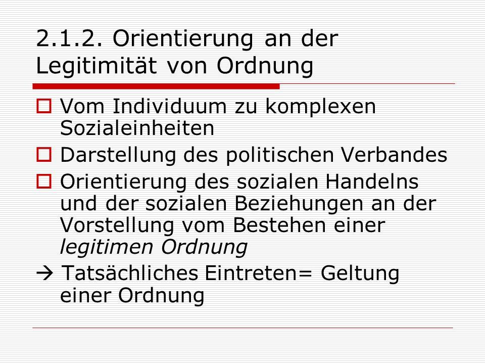 2.1.2. Orientierung an der Legitimität von Ordnung Vom Individuum zu komplexen Sozialeinheiten Darstellung des politischen Verbandes Orientierung des