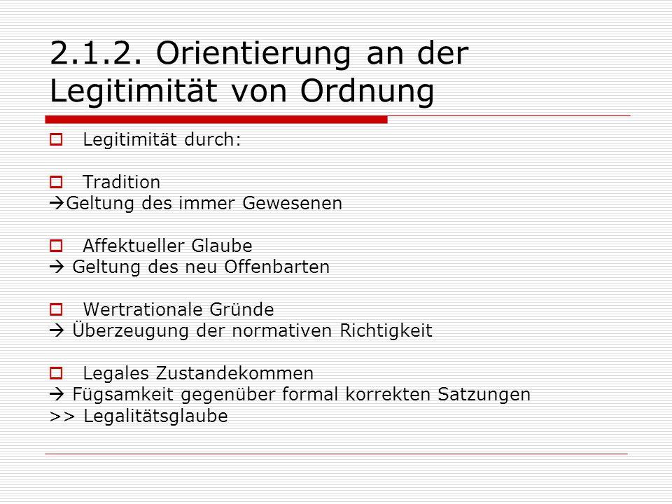 2.1.2. Orientierung an der Legitimität von Ordnung Legitimität durch: Tradition Geltung des immer Gewesenen Affektueller Glaube Geltung des neu Offenb