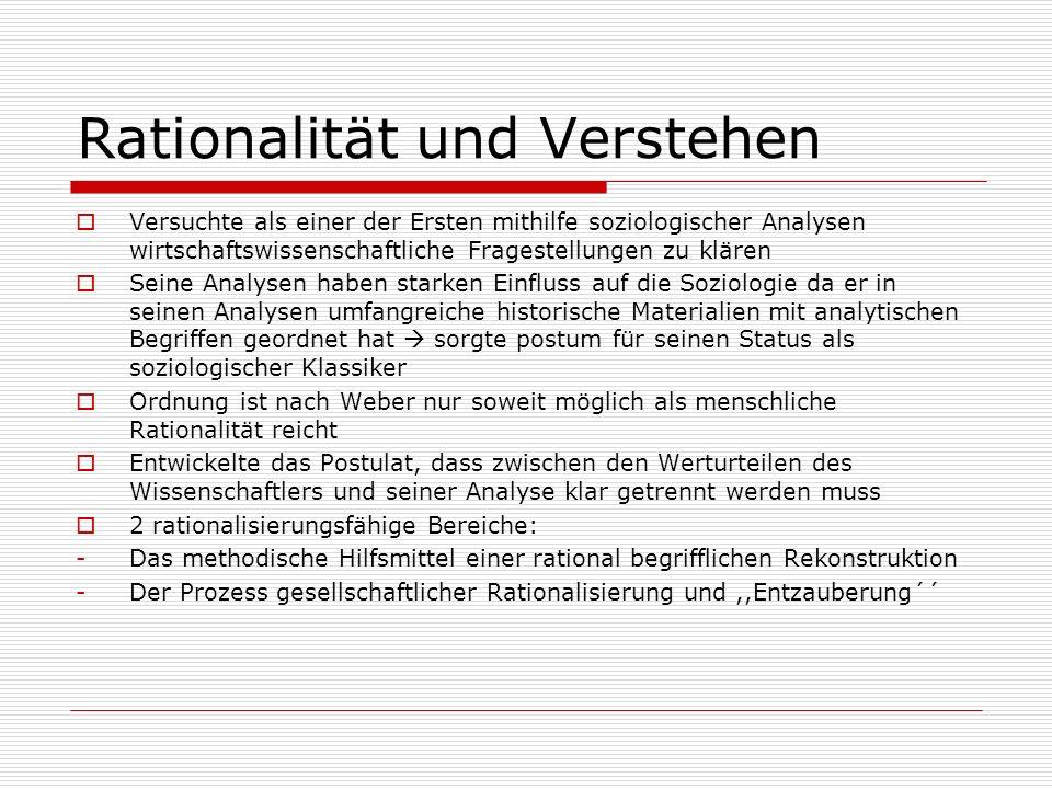Rationalität und Verstehen Versuchte als einer der Ersten mithilfe soziologischer Analysen wirtschaftswissenschaftliche Fragestellungen zu klären Sein