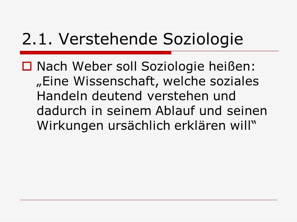 2.1. Verstehende Soziologie Nach Weber soll Soziologie heißen: Eine Wissenschaft, welche soziales Handeln deutend verstehen und dadurch in seinem Abla