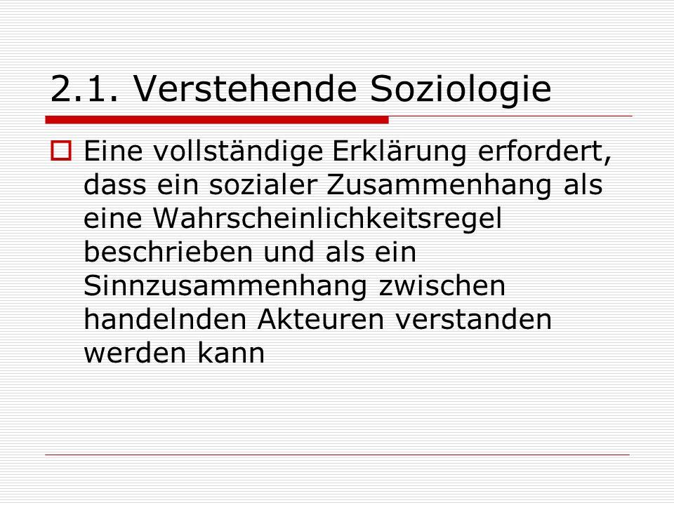 2.1. Verstehende Soziologie Eine vollständige Erklärung erfordert, dass ein sozialer Zusammenhang als eine Wahrscheinlichkeitsregel beschrieben und al