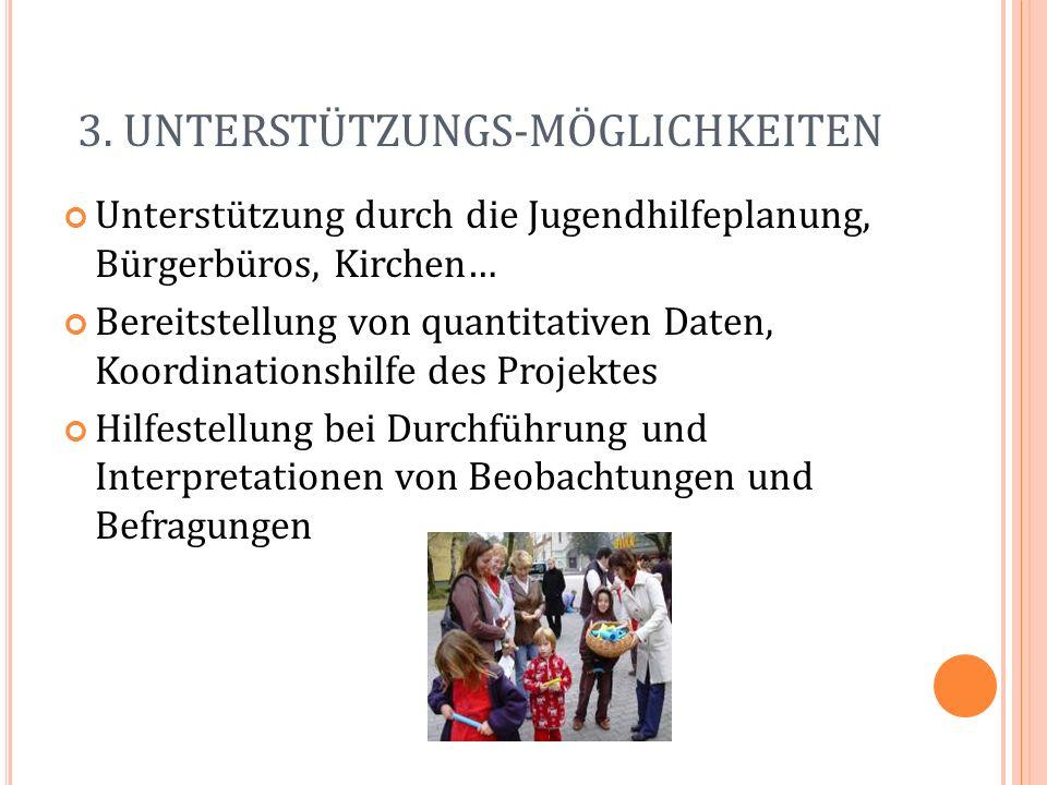 3. UNTERSTÜTZUNGS-MÖGLICHKEITEN Unterstützung durch die Jugendhilfeplanung, Bürgerbüros, Kirchen… Bereitstellung von quantitativen Daten, Koordination