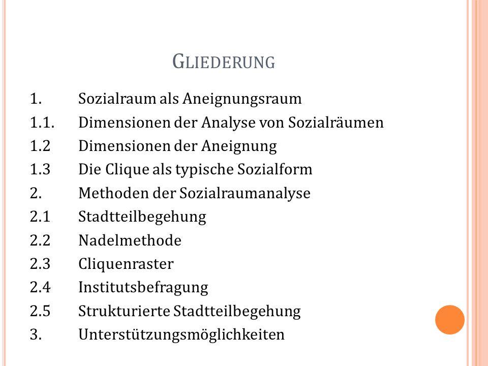 G LIEDERUNG 1.Sozialraum als Aneignungsraum 1.1.Dimensionen der Analyse von Sozialräumen 1.2 Dimensionen der Aneignung 1.3 Die Clique als typische Soz