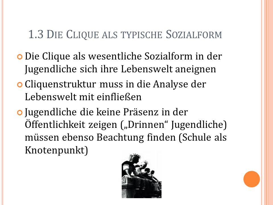 1.3 D IE C LIQUE ALS TYPISCHE S OZIALFORM Die Clique als wesentliche Sozialform in der Jugendliche sich ihre Lebenswelt aneignen Cliquenstruktur muss