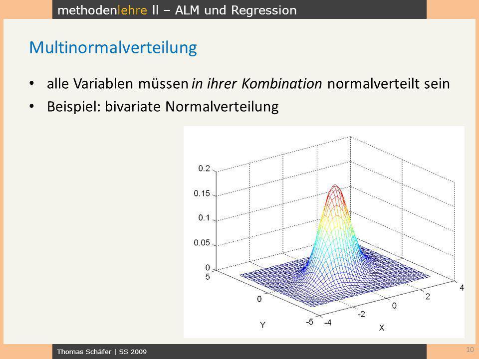 methodenlehre ll – ALM und Regression Thomas Schäfer | SS 2009 alle Variablen müssen in ihrer Kombination normalverteilt sein Beispiel: bivariate Norm
