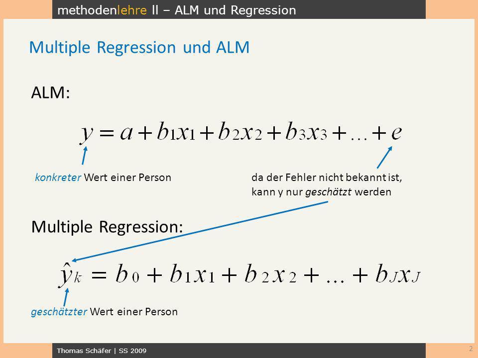 methodenlehre ll – ALM und Regression Thomas Schäfer | SS 2009 Was Sie schon kennen: einfache lineare Regression Bei mehreren Prädiktoren: multiple Regression 3 Das Allgemeine lineare Modell Prädiktor 1 Prädiktor 2 usw.