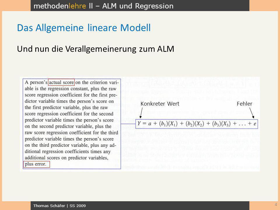 methodenlehre ll – ALM und Regression Thomas Schäfer | SS 2009 Und nun die Verallgemeinerung zum ALM 4 Das Allgemeine lineare Modell FehlerKonkreter W