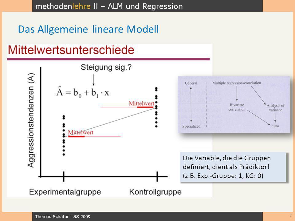 methodenlehre ll – ALM und Regression Thomas Schäfer | SS 2009 7 Das Allgemeine lineare Modell Die Variable, die die Gruppen definiert, dient als Präd