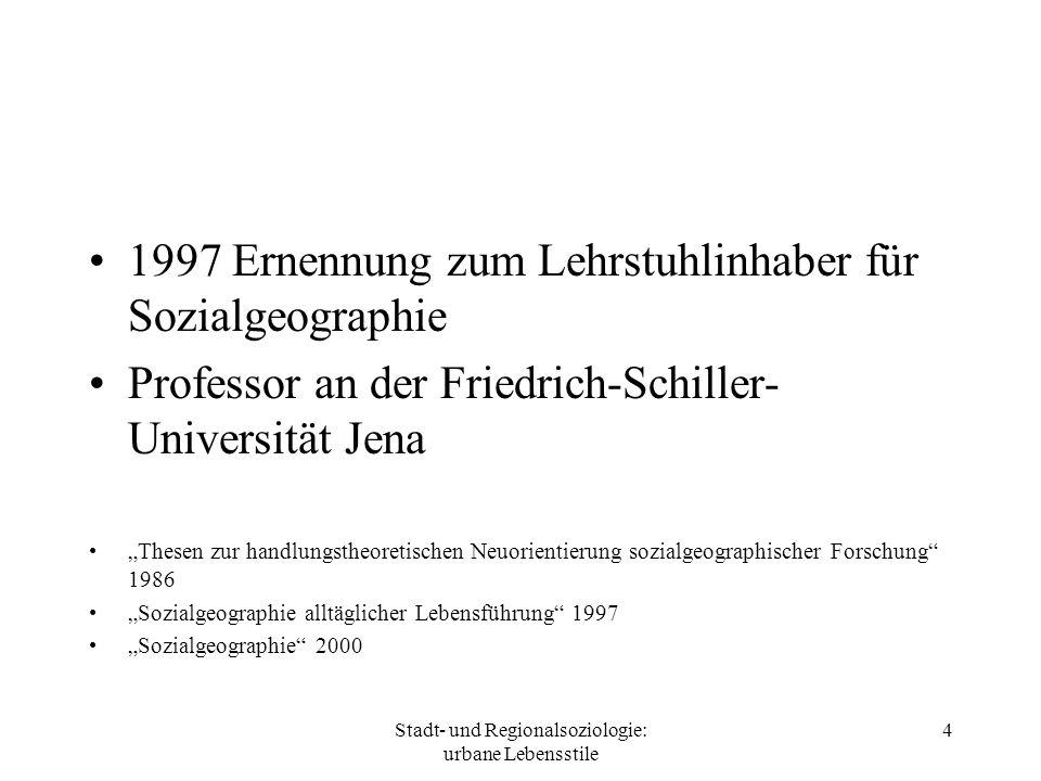 Stadt- und Regionalsoziologie: urbane Lebensstile 4 1997 Ernennung zum Lehrstuhlinhaber für Sozialgeographie Professor an der Friedrich-Schiller- Univ