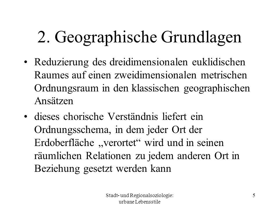 Stadt- und Regionalsoziologie: urbane Lebensstile 5 2. Geographische Grundlagen Reduzierung des dreidimensionalen euklidischen Raumes auf einen zweidi