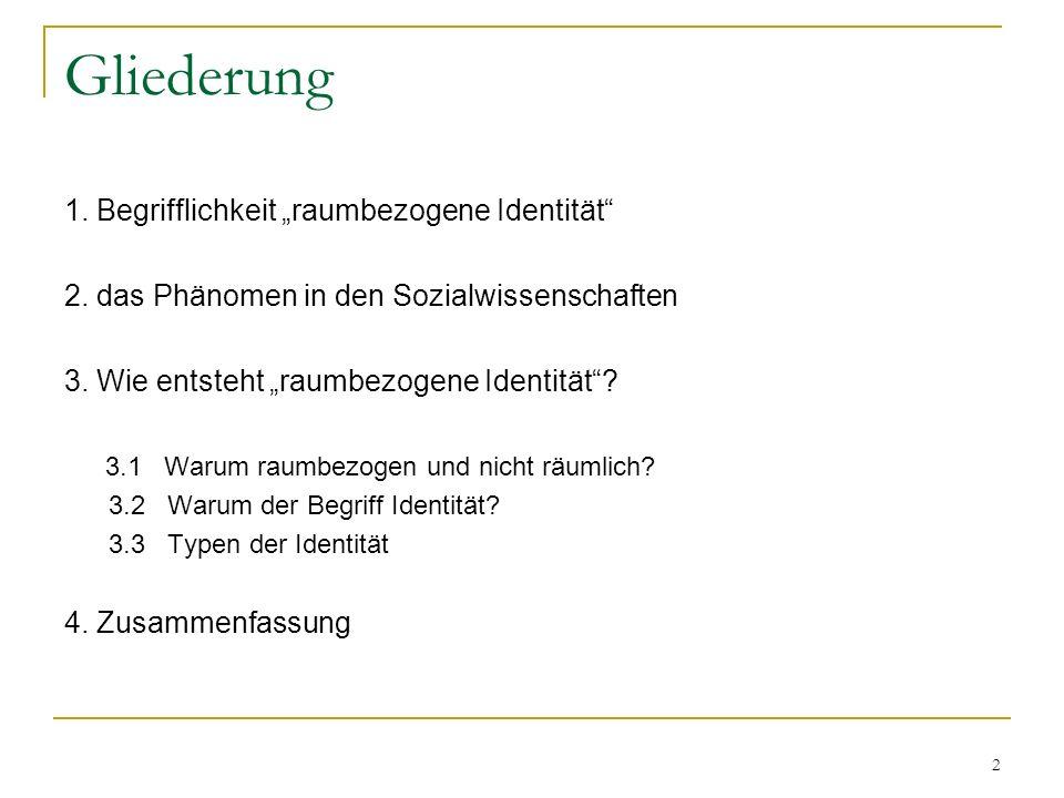 2 Gliederung 1. Begrifflichkeit raumbezogene Identität 2. das Phänomen in den Sozialwissenschaften 3. Wie entsteht raumbezogene Identität? 3.1 Warum r