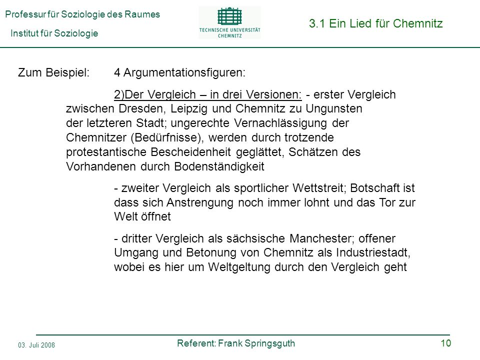 Professur für Soziologie des Raumes Institut für Soziologie Referent: Frank Springsguth 03. Juli 2008 10 3.1 Ein Lied für Chemnitz Zum Beispiel:4 Argu