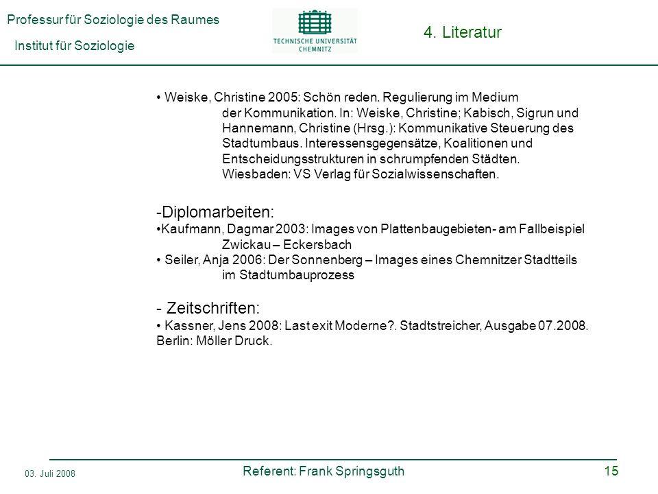 Professur für Soziologie des Raumes Institut für Soziologie Referent: Frank Springsguth 03. Juli 2008 15 4. Literatur Weiske, Christine 2005: Schön re