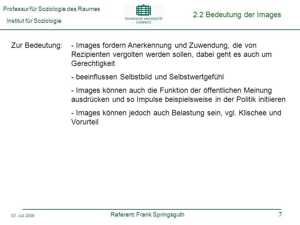 Professur für Soziologie des Raumes Institut für Soziologie Referent: Frank Springsguth 03. Juli 2008 7 2.2 Bedeutung der Images Zur Bedeutung:- Image