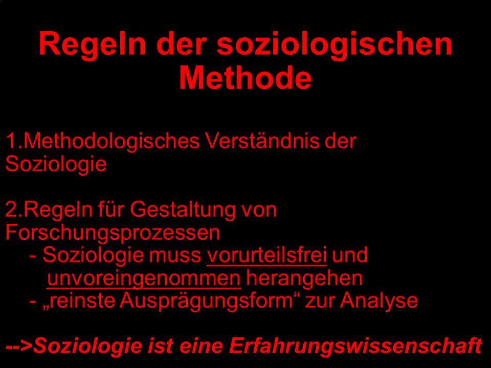 Regeln der soziologischen Methode 1.Methodologisches Verständnis der Soziologie 2.Regeln für Gestaltung von Forschungsprozessen - Soziologie muss voru