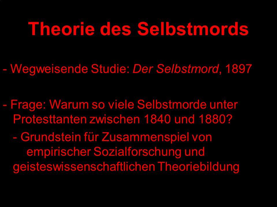 Theorie des Selbstmords - Wegweisende Studie: Der Selbstmord, 1897 - Frage: Warum so viele Selbstmorde unter Protesttanten zwischen 1840 und 1880? - G