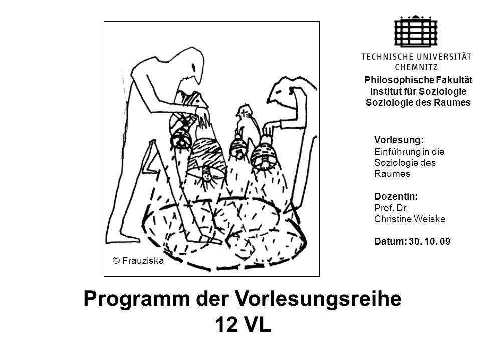 Programm der Vorlesungsreihe 12 VL Vorlesung: Einführung in die Soziologie des Raumes Dozentin: Prof. Dr. Christine Weiske Datum: 30. 10. 09 Philosoph